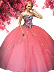 Romantic Beaded Bodice and Ruffled Quinceanera Dress in Coral Red