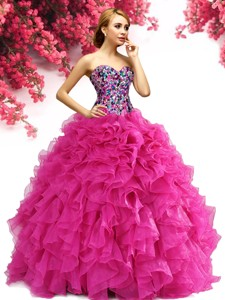 Elegant Hot Pink Big Puffy Quinceanera Dress with Ruffles and Beading