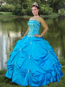 Strapless Satin Embroidery Quinceanera Dress In Aqua Blue