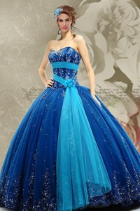 Top Seller Sweetheart Blue Quinceanera Dress With Beading And Appliques