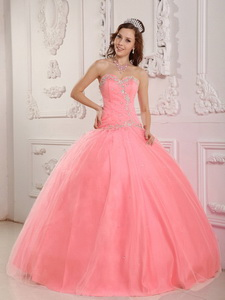 Lovely Ball Gown Sweetheart Floor-length Tulle Appliques Watermelon Quinceanera Dress