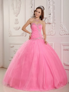 Lovely Ball Gown Sweetheart Floor-length Tulle Appliques Rose Pink Quinceanera Dress
