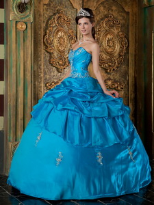 Teal Ball Gown Sweetheart Floor-length Taffeta Appliques Quinceanera Dress