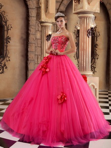 Coral Red Ball Gown Strapless Floor-length Satin and Tulle Beading Quinceanera Dress