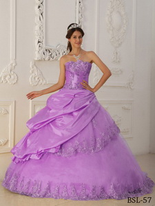 Lavender Princess Sweetheart Floor-length Taffeta And Tulle Beading Quinceanera Dress