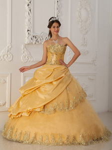 Gold Princess Sweetheart Floor-length Taffeta And Tulle Beading Quinceanera Dress