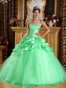 Apple Green Ball Gown Floor-length Taffeta and Tulle Beading Quinceanera Dress
