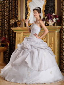Grey Ball Gown Sweetheart Floor-length Organza Beading Quinceanera Dress