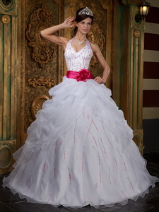 White Halter Floor-length Organza Beading Quinceanera Dress