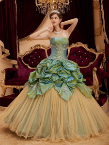Olive Green Ball Gown Strapless Floor-length Taffeta and Tulle Beading Quinceanera Dress