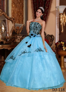 Blue and Black Strapless Floor-length Organza Embroidery Quinceanera Dress