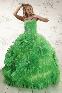 Classical Sweetheart Green Quinceanera Dress With Appliques And Ruffles