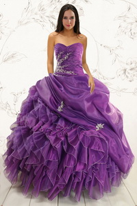 Romantic Purple Ball Gown Quinceanera Dress With Appliques And Ruffles