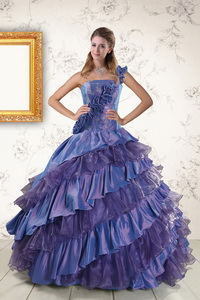 Remarkable One Shoulder Hand Made Flowers And Ruffled Layers Quinceanera Dress