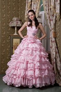 Baby Pink One Shoulder Floor-length Elastic Woven Satin Beading Ruffled Layers Quinceanea Dre