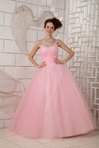 Pink Ball Gown Straps Floor-length Tulle Beading Quinceanea Dress