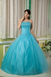 Teal Ball Gown Sweetheart Floor-length Tulle Beading Quinceanera Dress