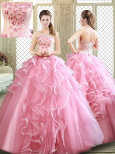 Lovely Strapless Sweet 16 Dress With Appliques And Ruffles