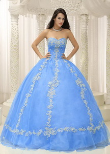 Blue Sweetheart Appliques And Beaded Decorate Quinceanera Dress