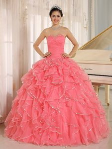 Ruffles And Beaded For Redquinceanera Dress Custom Made