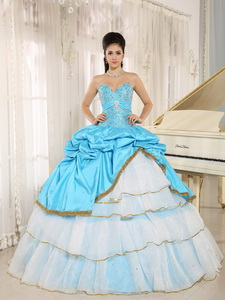 Sweetheart Beaded and Pick-ups For Aqua Blue and White Quinceanera Dress Ruffled Layers In Kailua-Ko