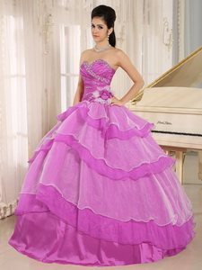 Hot Pink Sweetheart Beaded Decorate And Ruched Bodice Ruffled Layeres Quinceanera Dress In