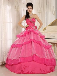 Hot Pink Sweetheart Beaded Decorate and Ruch Bodice Ruffled Layeres Rosario Quinceanera Dress In 201