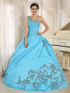 Baby Blue Quinceanera Dress One Shoulder With Appliques And Beading