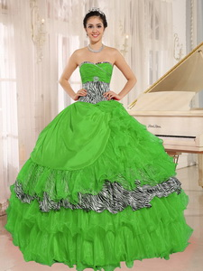 Wholesale Green Sweetheart Ruffles Quinceanera Dress With Zebra and Beading I