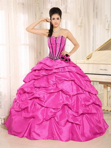 Hot Pink Beaded Quinceanera Dress With Pick-ups