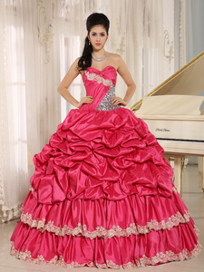 Hot Pink Beaded Appliques And Pick-ups Quinceanera Dress For Custom Made In Koloa City Hawaii