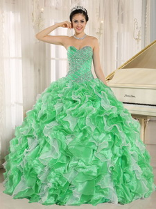 Green Beaded Bodice And Ruffles Custom Made Quinceanera Dress