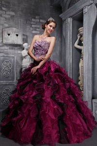 Burgundy Ball Gown Sweetheart Floor-length Zebra and Organza Ruffles and Beading Quinceanera Dress