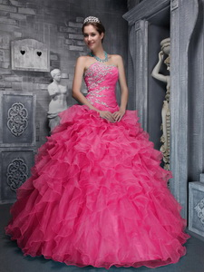 Beautiful Sweetheart Taffeta and Organza Beading and Appliques Coral Red Quinceanera Dress