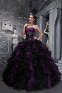 Exclusive Ball Gown Strapless Floor-length Taffeta and Organza Appliques and Ruffles Drak Purple and