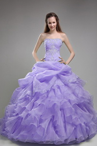 Lilac Ball Gown Strapless Floor-length Orangza Beading and Ruffles Quinceanera Dress