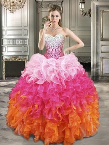 Fashionable Beaded Bodice and Ruffled Quinceanera Dress in Gradient Color