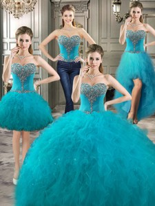 Classical Big Puffy Teal Detachable Quinceanera Dress With Beading And Ruffles