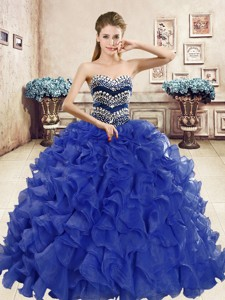 Popular Beaded and Ruffled Big Puffy Quinceanera Dress in Organza