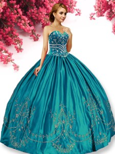 Elegant Big Puffy Turquoise Quinceanera Dress with Beading and Appliques