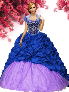 Classical Royal Blue and Lilac Quinceanera Dress with Beading and Pick Ups