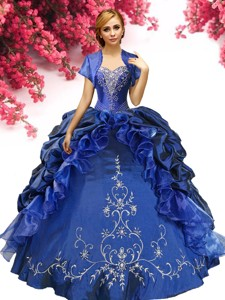 Perfect Royal Blue Sweet 16 Dress with Pick Ups and Appliques