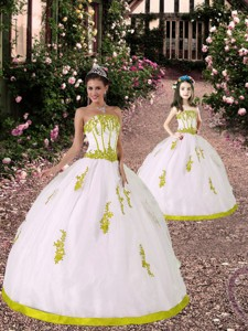 Custom Made White And Yellow Green Princesita Dress With Appliques