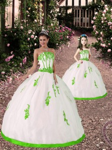 Spring Appliques Princesita Dress In White And Spring Green