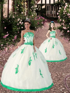 Most Popular Appliques White And Green Princesita Dress