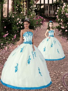 Exquisite Appliques White And Teal Princesita Dress