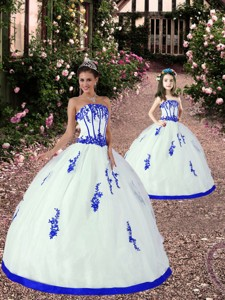 New Style Appliques Princesita Dress In White And Royal Blue