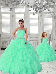 Fashionable Apple Green Princesita Dress With Ruffles And Beading