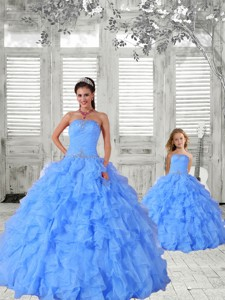 Affordable Beading and Ruching Baby Blue Princesita Dress