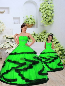 Trendy Beading And Ruching Spring Green Princesita Dress Spring